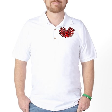 Blood Cancer Heart Wings Golf Shirt