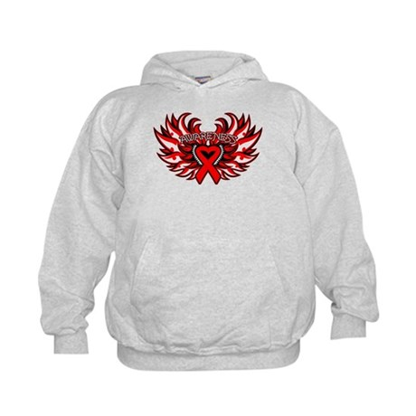 Blood Cancer Heart Wings Kids Hoodie