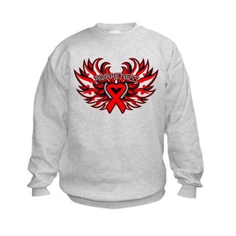 Blood Cancer Heart Wings Kids Sweatshirt