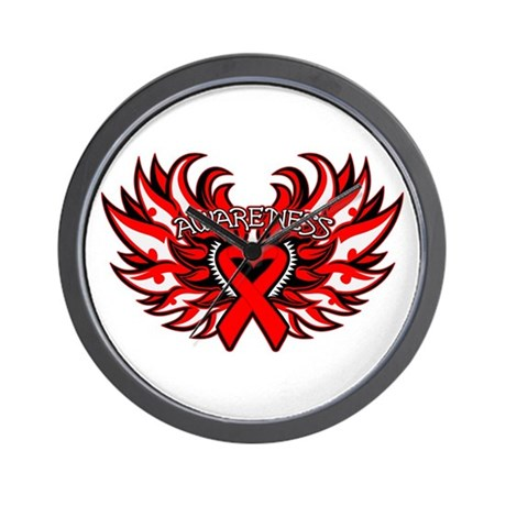Blood Cancer Heart Wings Wall Clock