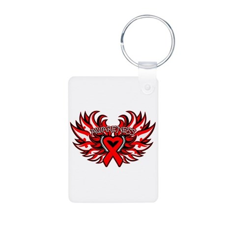 Blood Cancer Heart Wings Aluminum Photo Keychain