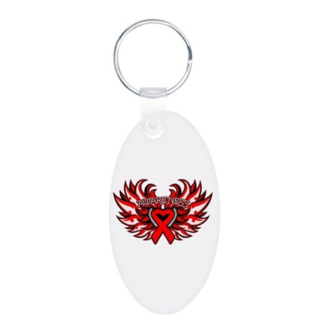 Blood Cancer Heart Wings Aluminum Oval Keychain