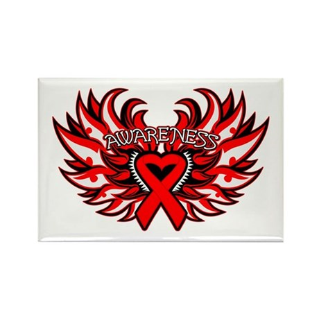 Blood Cancer Heart Wings Rectangle Magnet