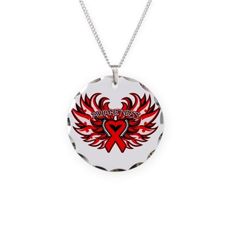 Blood Cancer Heart Wings Necklace Circle Charm
