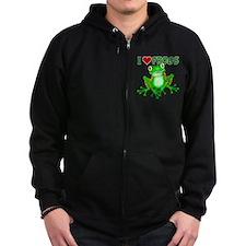 I Love (Heart) Frogs Zip Hoody