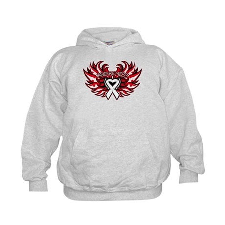 Bone Cancer Heart Wings Kids Hoodie