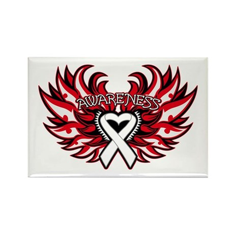 Bone Cancer Heart Wings Rectangle Magnet
