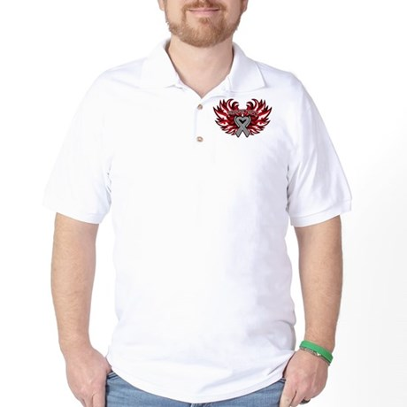 Brain Cancer Heart Wings Golf Shirt