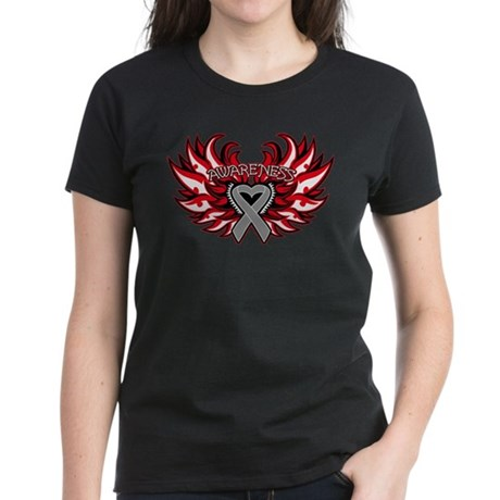 Brain Cancer Heart Wings Women's Dark T-Shirt