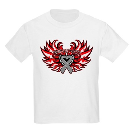 Brain Cancer Heart Wings Kids Light T-Shirt