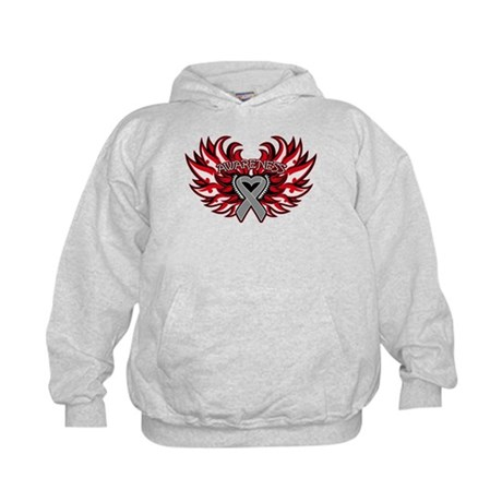 Brain Cancer Heart Wings Kids Hoodie