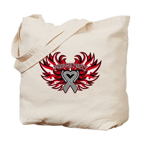 Brain Cancer Heart Wings Tote Bag