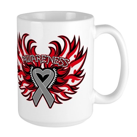 Brain Cancer Heart Wings Large Mug