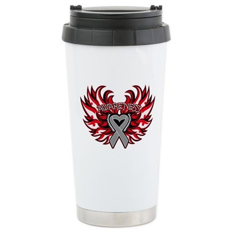 Brain Cancer Heart Wings Ceramic Travel Mug