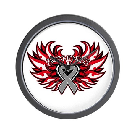 Brain Cancer Heart Wings Wall Clock