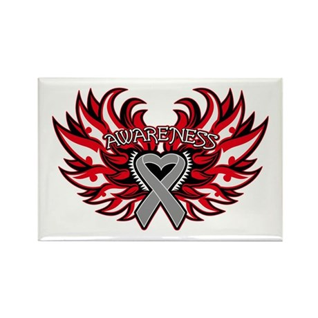 Brain Cancer Heart Wings Rectangle Magnet