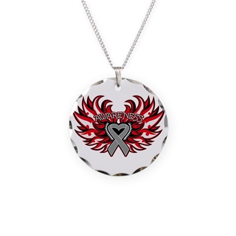 Brain Cancer Heart Wings Necklace Circle Charm