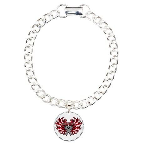 Brain Cancer Heart Wings Charm Bracelet, One Charm