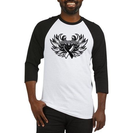 Carcinoid Cancer Heart Wings Baseball Jersey
