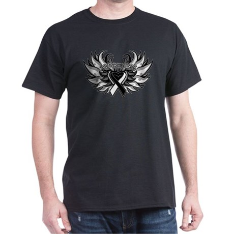 Carcinoid Cancer Heart Wings Dark T-Shirt