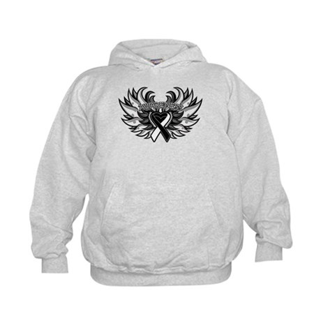 Carcinoid Cancer Heart Wings Kids Hoodie