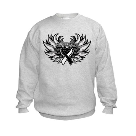 Carcinoid Cancer Heart Wings Kids Sweatshirt