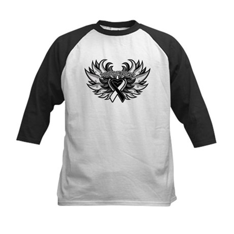 Carcinoid Cancer Heart Wings Kids Baseball Jersey
