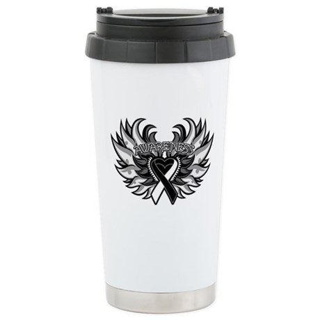 Carcinoid Cancer Heart Wings Ceramic Travel Mug