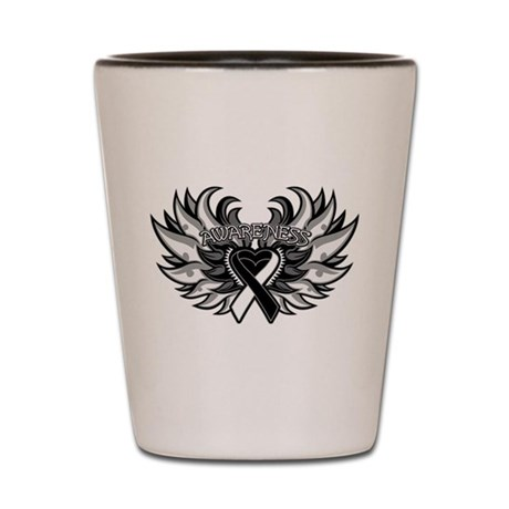 Carcinoid Cancer Heart Wings Shot Glass