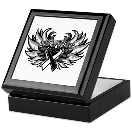 Carcinoid Cancer Heart Wings Keepsake Box