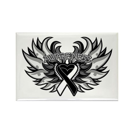 Carcinoid Cancer Heart Wings Rectangle Magnet
