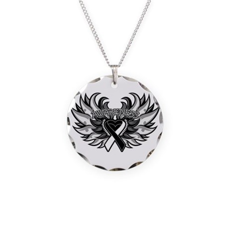Carcinoid Cancer Heart Wings Necklace Circle Charm