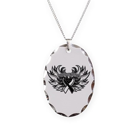 Carcinoid Cancer Heart Wings Necklace Oval Charm