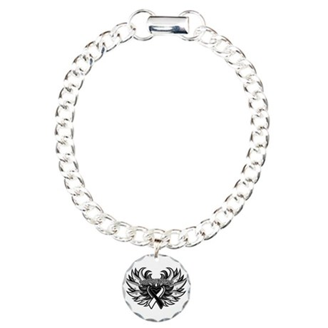 Carcinoid Cancer Heart Wings Charm Bracelet, One C