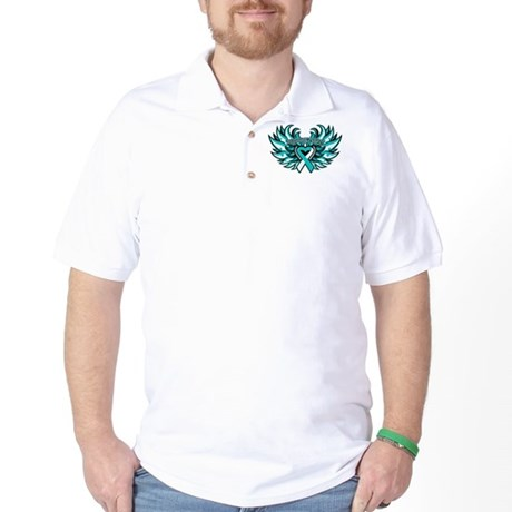 Cervical Cancer Heart Wings Golf Shirt