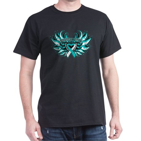 Cervical Cancer Heart Wings Dark T-Shirt