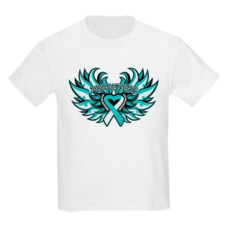 Cervical Cancer Heart Wings Kids Light T-Shirt