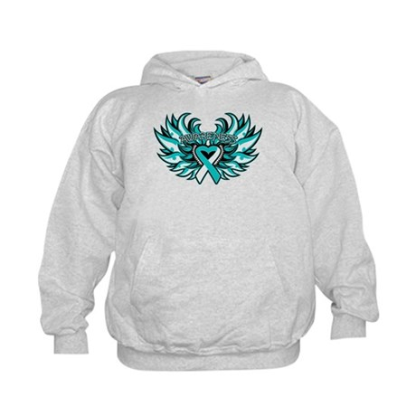 Cervical Cancer Heart Wings Kids Hoodie