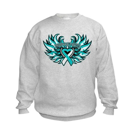 Cervical Cancer Heart Wings Kids Sweatshirt