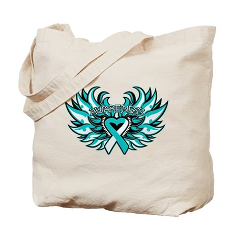 Cervical Cancer Heart Wings Tote Bag