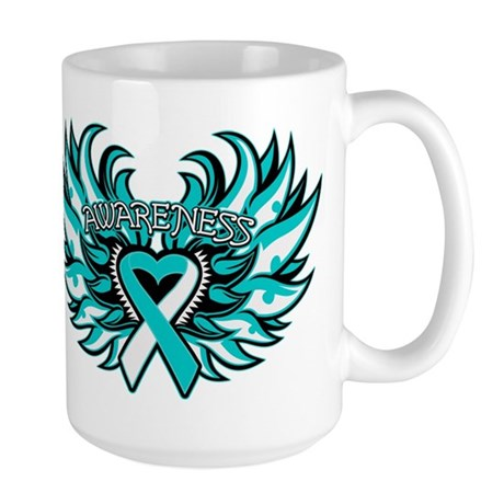 Cervical Cancer Heart Wings Large Mug