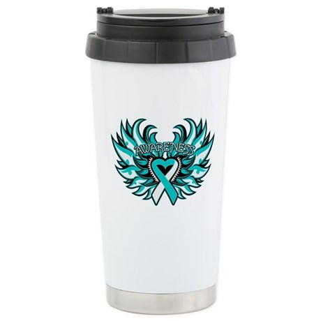 Cervical Cancer Heart Wings Ceramic Travel Mug