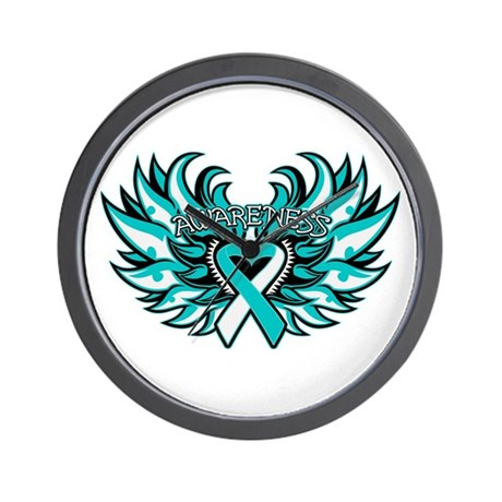 Cervical Cancer Heart Wings Wall Clock