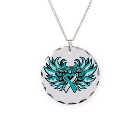 Cervical Cancer Heart Wings Necklace Circle Charm