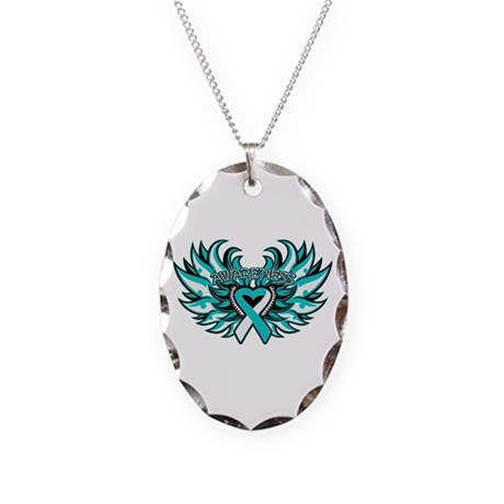 Cervical Cancer Heart Wings Necklace Oval Charm