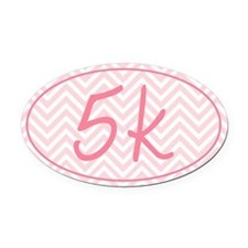 5k Pink Chevron Oval Car Magnet