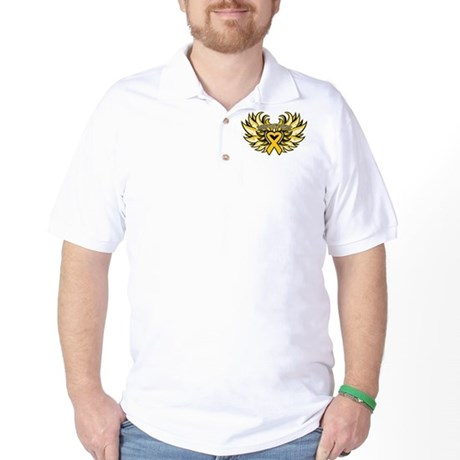 Childhood Cancer Heart Wings Golf Shirt