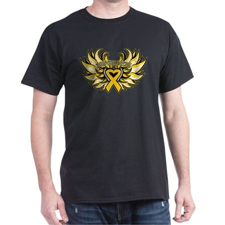 Childhood Cancer Heart Wings Dark T-Shirt