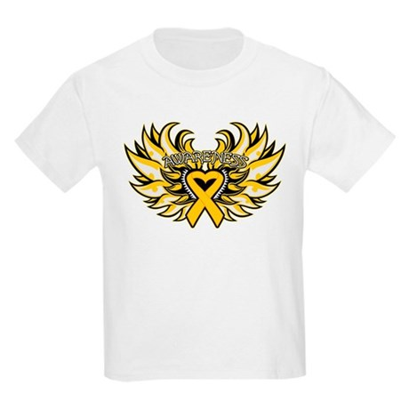 Childhood Cancer Heart Wings Kids Light T-Shirt