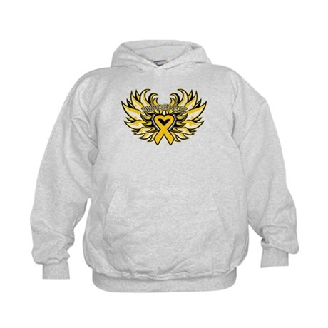 Childhood Cancer Heart Wings Kids Hoodie